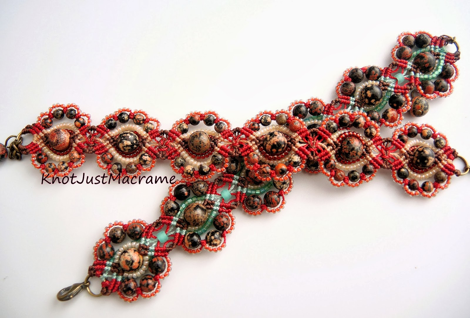 Two micro macrame bracelets featuring Mexican red snowflake jasper, knotted by Sherri Stokey