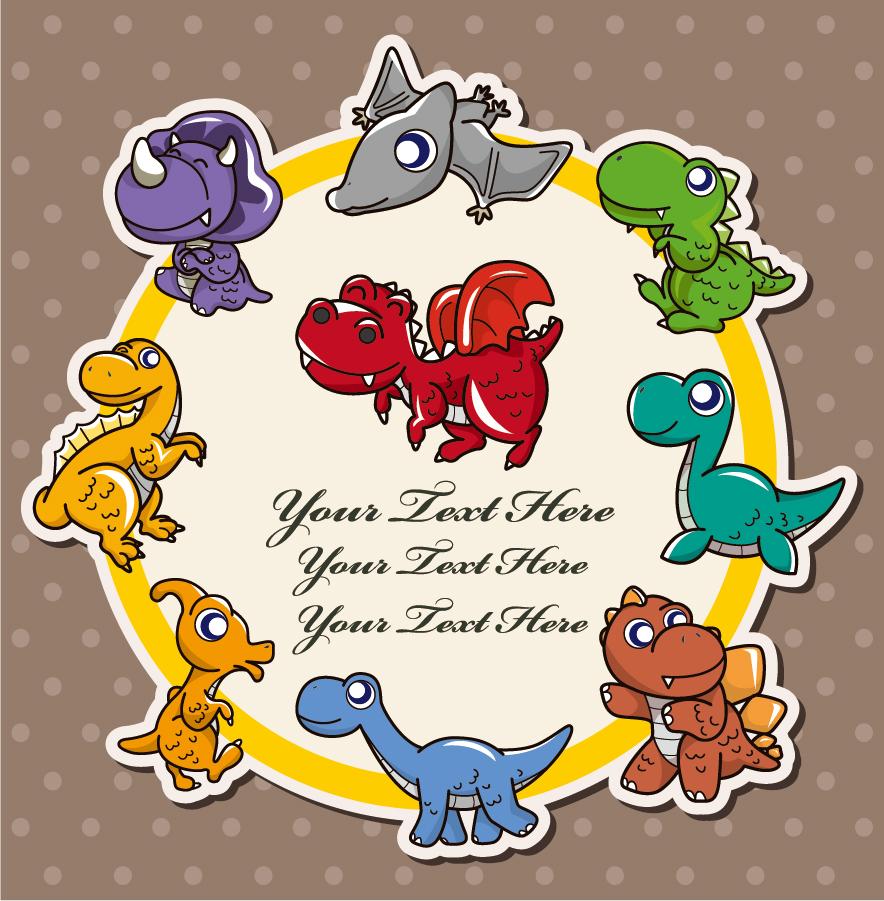 恐竜のテキストフレーム Cartoon dinosaurs イラスト素材