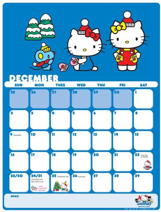 Cute december 2012 calendar with holidays