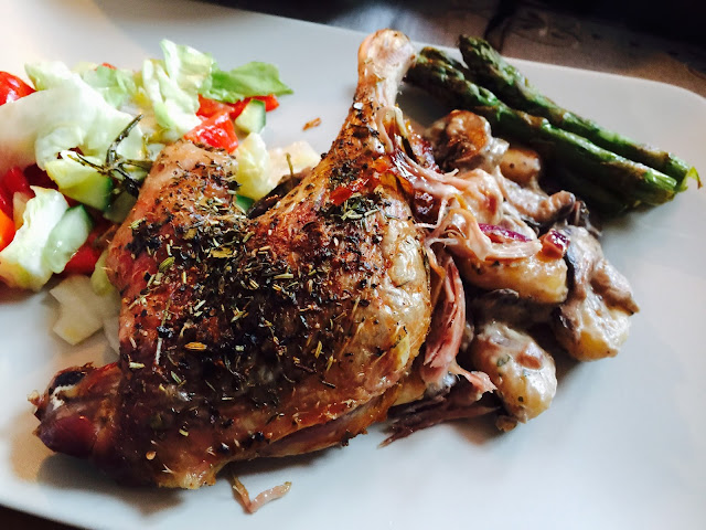 Roast duck leg with provencal herbs
