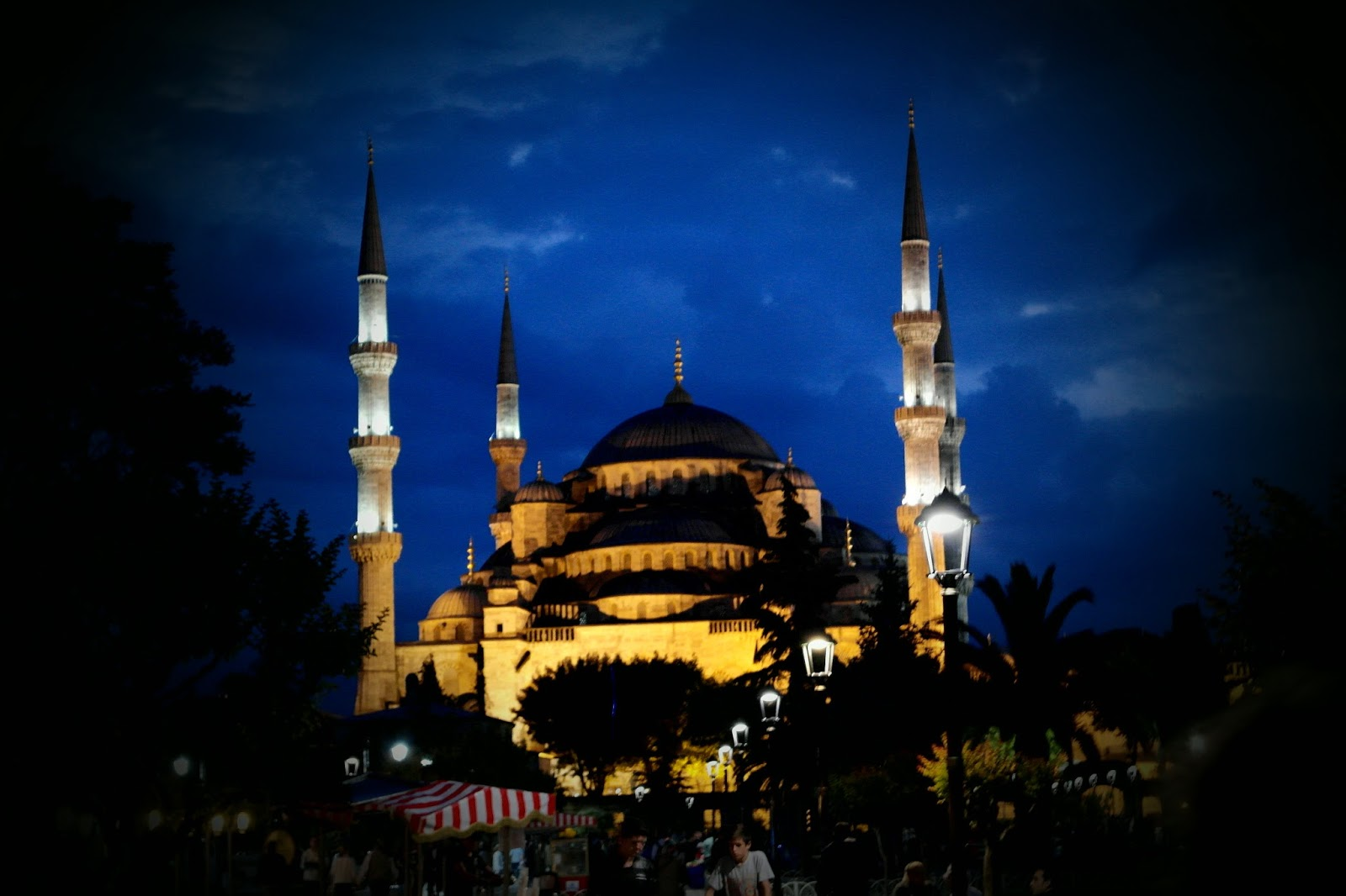 Blue Mosque lit up at night