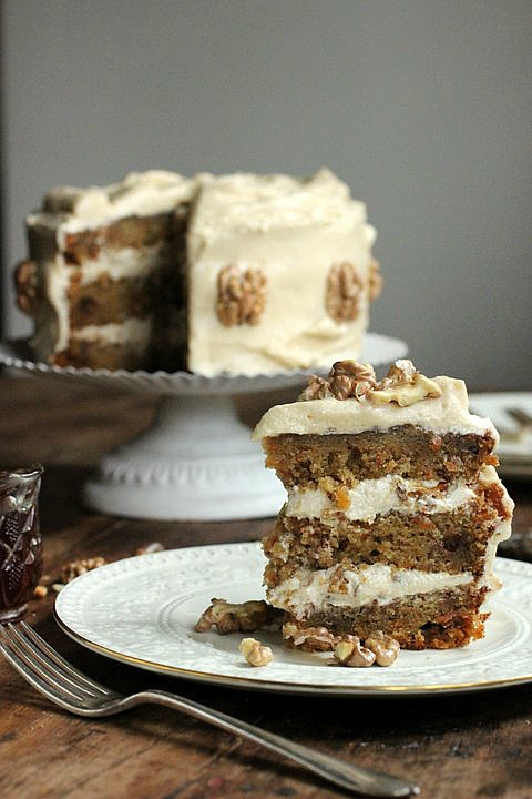 Carrot Birthday Cake with Maple Cream Cheese Frosting