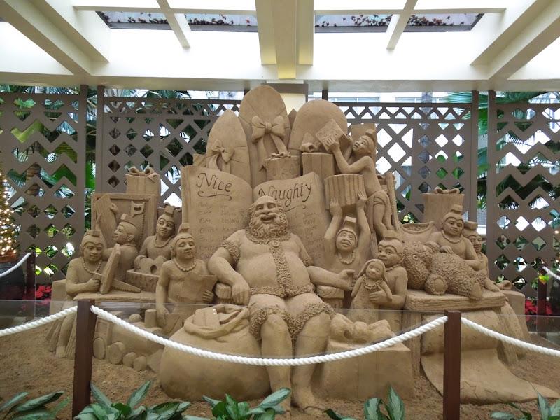 Sand Santa sculpture Sheraton Waikiki