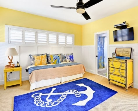 Turquoise coral yellow in a rehoboth beach house for Bright yellow bedroom ideas