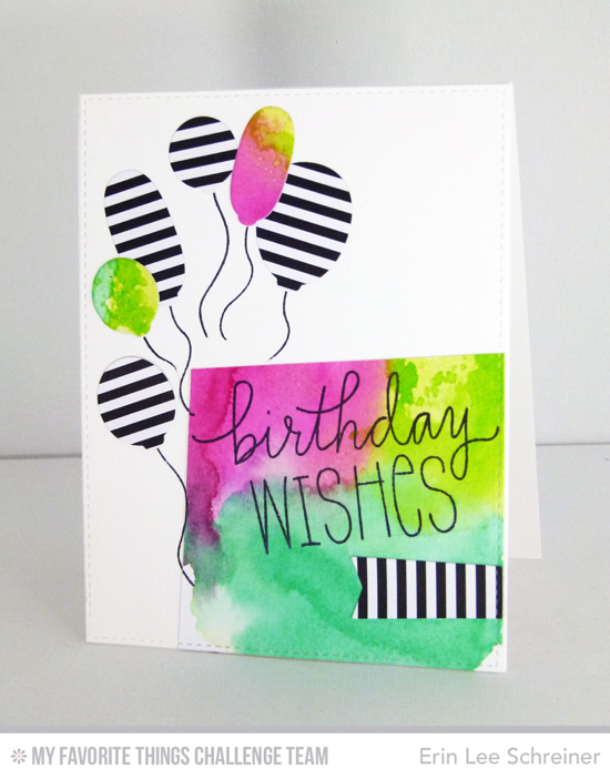 Bold Birthday Wishes Card by Erin Lee Schreiner featuring the Birthday WIshes & Balloons stamp set and Die-namics #mftstamps