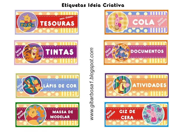 Etiquetas para organizar material escola Pooh e seus amigos