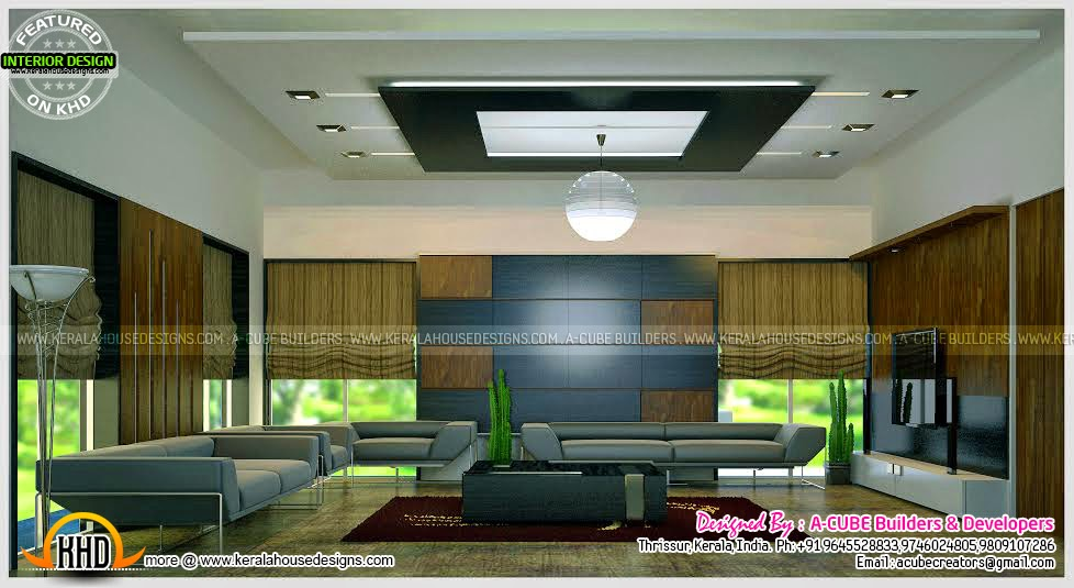 Siddu buzz online living room interior design in kerala for Kerala home living room designs