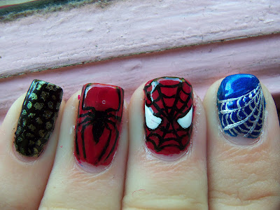 Spider-man nail art! by megmanicures.blogspot.com