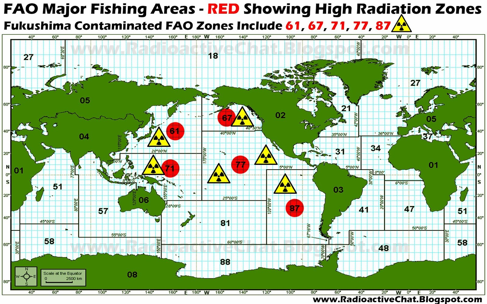 FAO Major Fishing Areas Showing Fukushima Fallout Contaminated FAO Zones 61,67,71,77,87 Radioactive Fish Food ☢