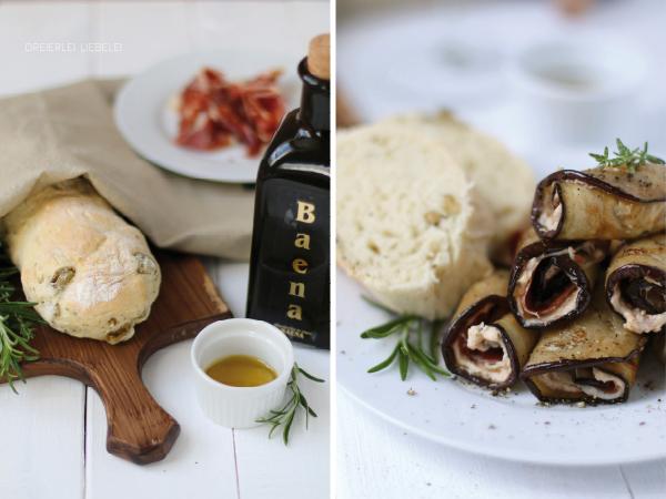 Tapas Auberginenröllchen Olivenbrot