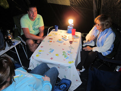 Playing Bohnanza by gas light whilst camping