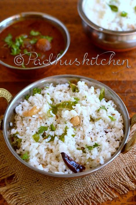 How to make coconut rice-thengai sadam
