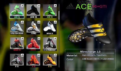 PES 2013 Black / Silver / Gold Next-Gen Adidas Ace 2016 Primeknit Boots by Ronaldo7rm