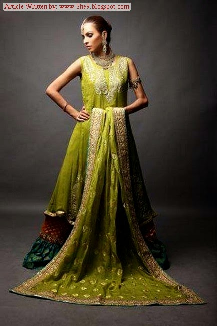 Mehndi Suits in Green and Yellow Color