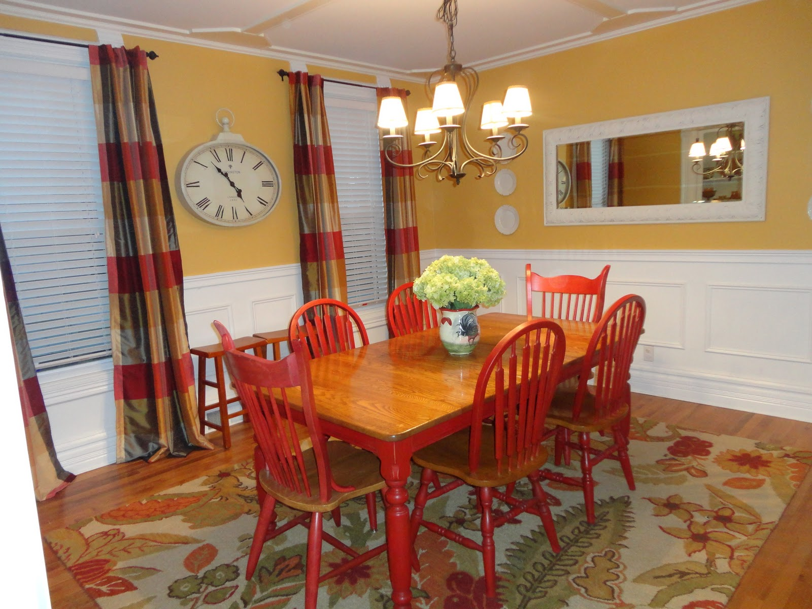 Lovely yellow house painted farm table for Yellow farmhouse table