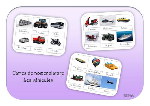 Cartes de nomenclature Montessori - Les véhicules