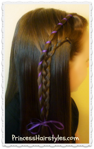 Candy stripe waterfall braid with lace french braid