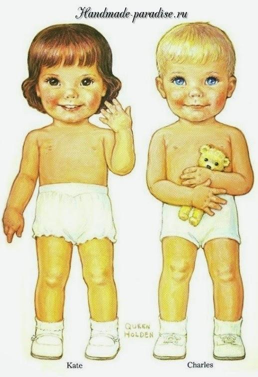 Винтажные куклы с одеждой для вырезания 1