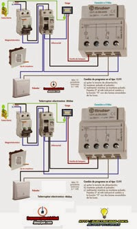 esquemas electricos telerruptores finder 3y4hilos