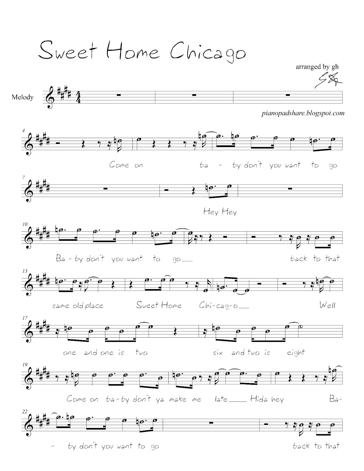 Pianopad upload community this song titled sweet home chicago this song titled sweet home chicago melody simple as per request was exported from pianopad by gh hexwebz Image collections