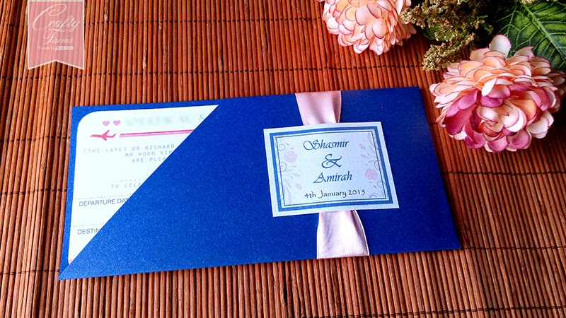 Navy and Candy Pink Boarding Pass Pocket