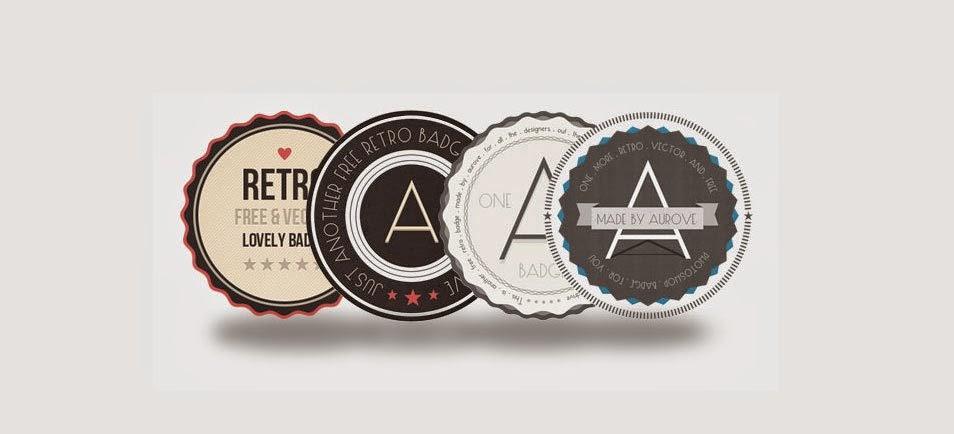 4 Free PSD Retro Badges