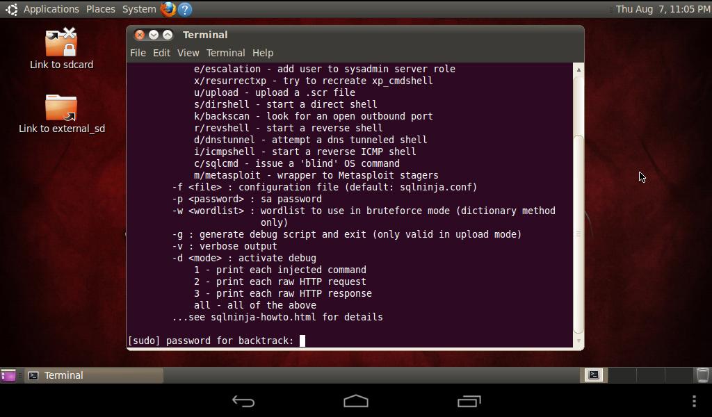 Menjalankan Linux Backtrack di Android Tablet Lenovo A1000: Linux Backtrack Sukses Dijalankan.