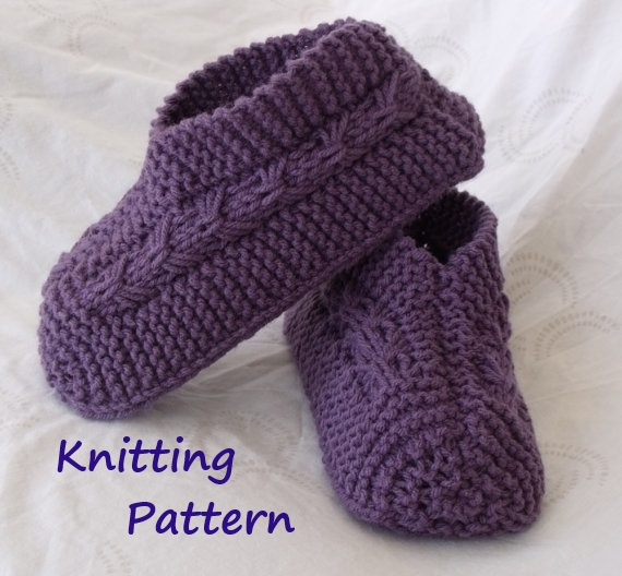 Free Knit Slipper Patterns Beginners : KweenBee and Me: Learn to Knit Slippers With These Patterns