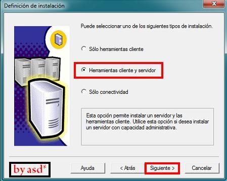 Seleccionando opcion herramientas cliente y servidor