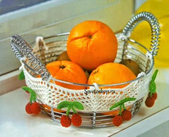 Frutera con decoración de guarda con cerezas al crochet - con patrones y diagramas