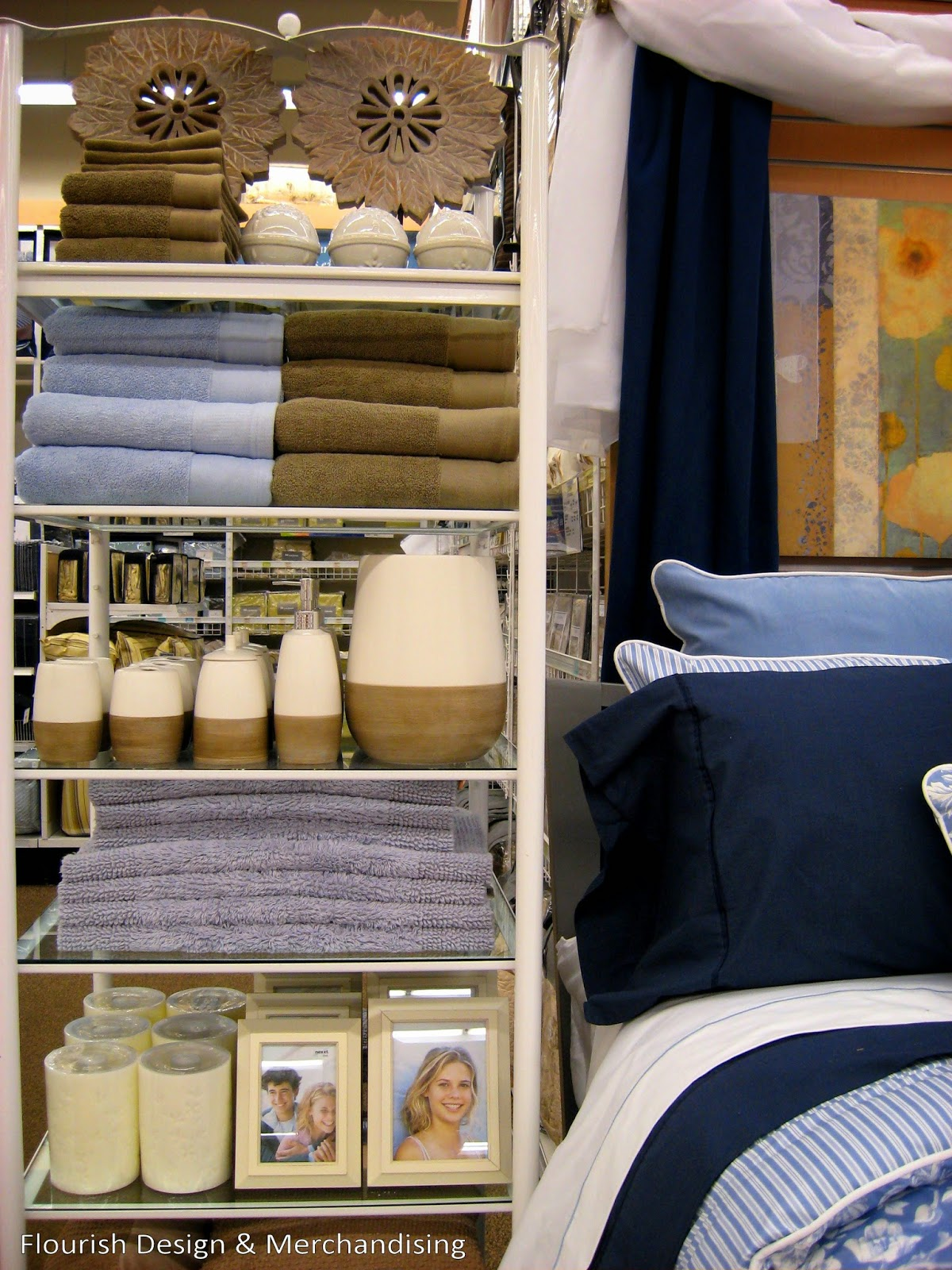 Bath accessory display on etagere to coordinate with bedding - visual merchandising
