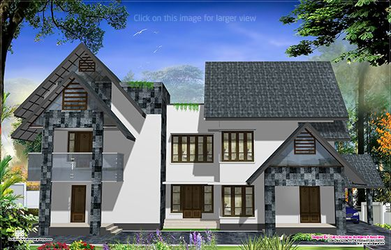 Western style home design in kerala kerala home design for Western style houses
