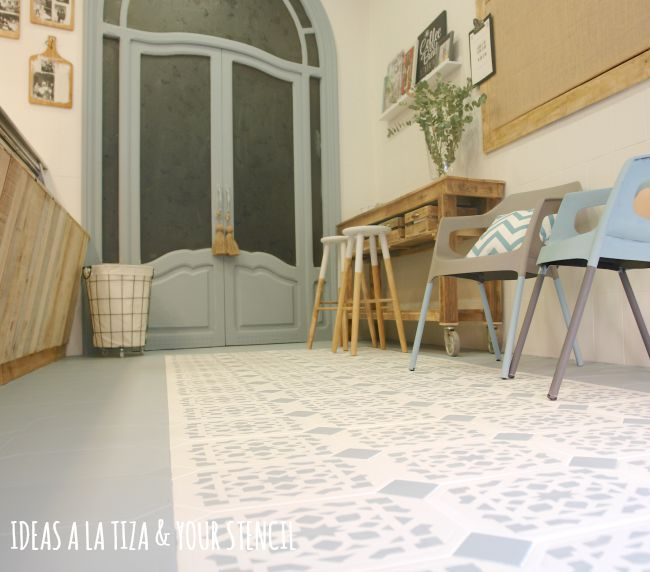 Ideas a la tiza suelo pintado con chalk paint for Pintar suelo ceramico