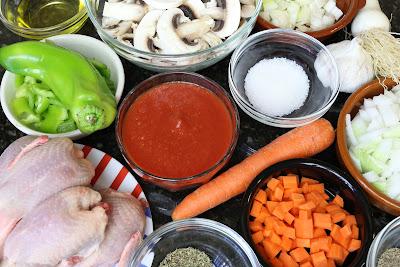 Ingredientes para codornices con arroz