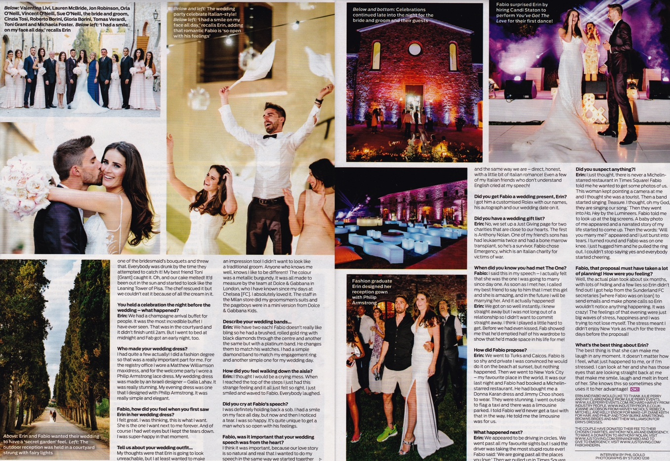 OK! Magazine feature - Model Erin O'Neill and Premiership Footballer Fabio Borini wedding by STUDIO 1208