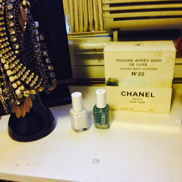 essie, essie nail polish, essie marhmellow, essie vested interest, chanel, chanel body powder, vintage chanel, beauty