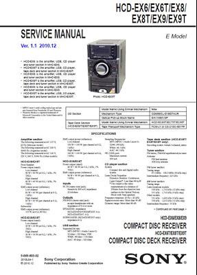Diagrama HCD-EX6 EX6T EX8 EX8T EX9 EX9T Sony