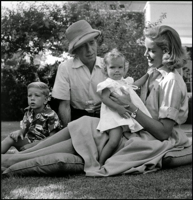Lauren Bacall & Humphrey Bogart at home with their children Stephen and Leslie. Beverly Hills, 1954