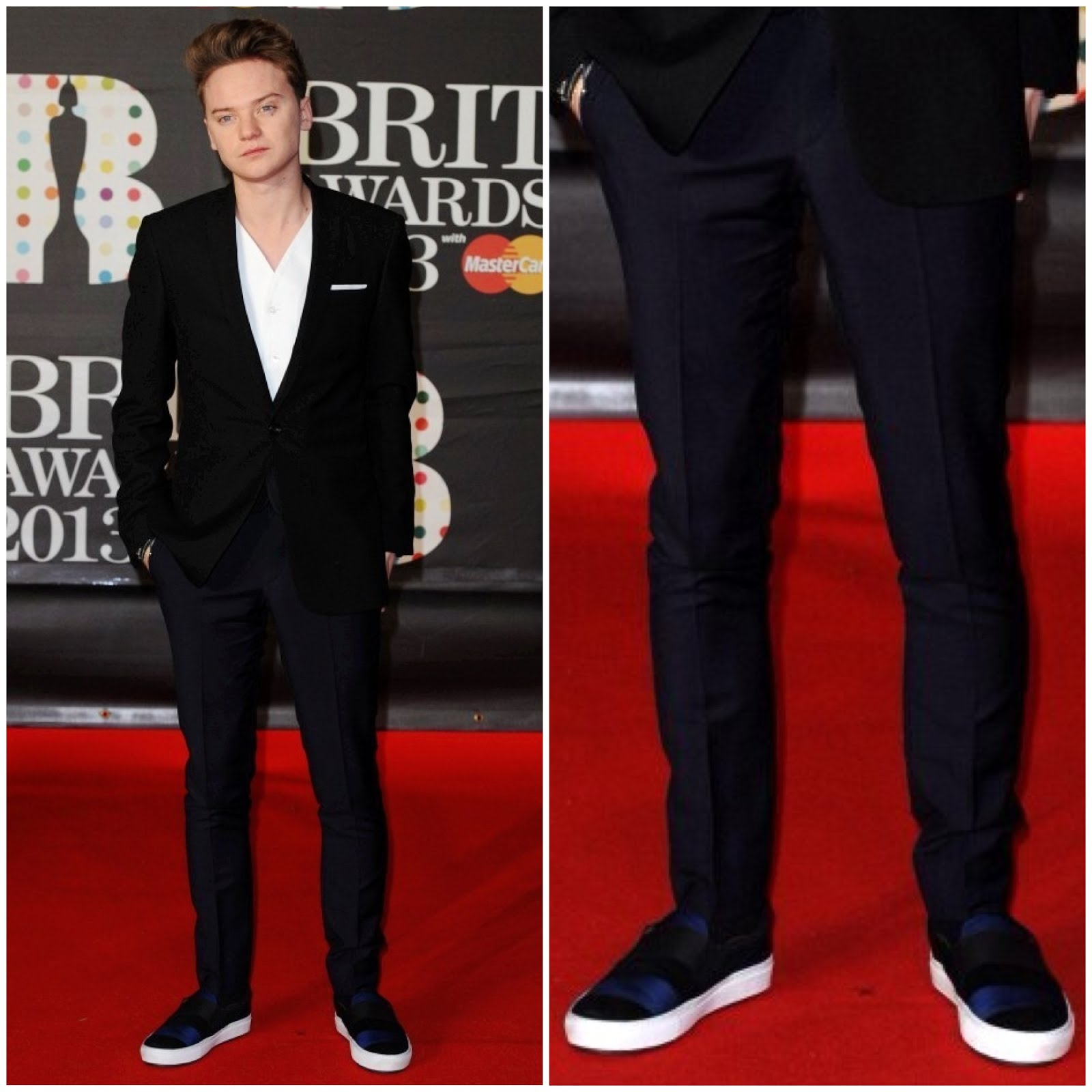 00O00 Menswear Blog Conor Maynard's ACNE Hans Striped Slip-on shoes at the Brit Awards 2013 #Brits2013
