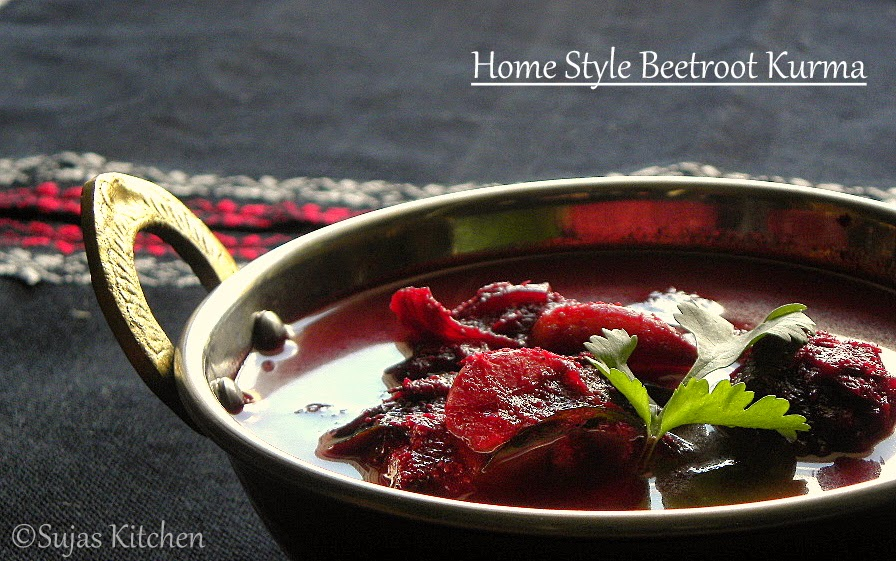 Beetroot kurma with coconut & poppy seeds.