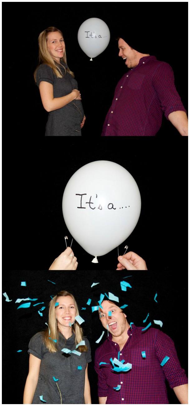 Revelando o sexo do bebê com balões e papel picado