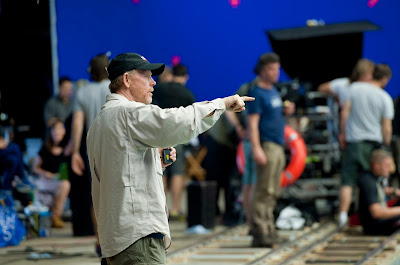 Director Ron Howard on the set of In The Heart of the Sea