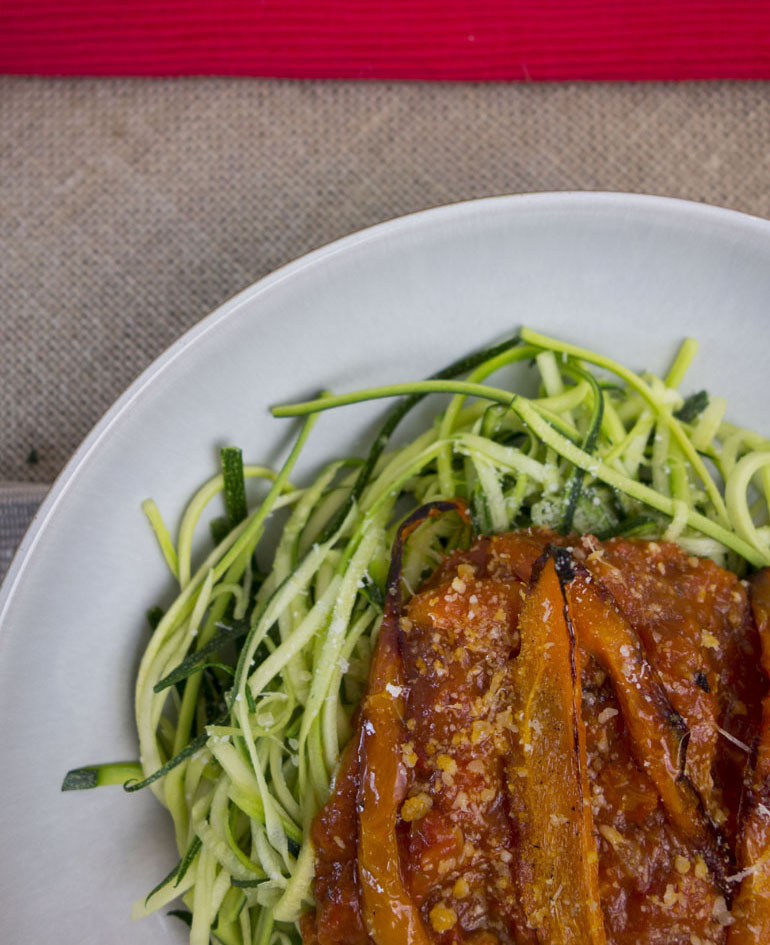 Spiced Tomato Courgetti with Garlic and Pancetta