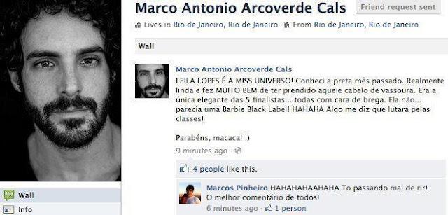 Marco Antônio Arcoverde Cals racismo contra miss Universo leila Lopes