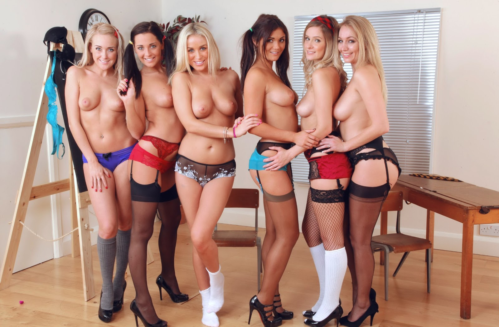 Group of topless girls lingerie