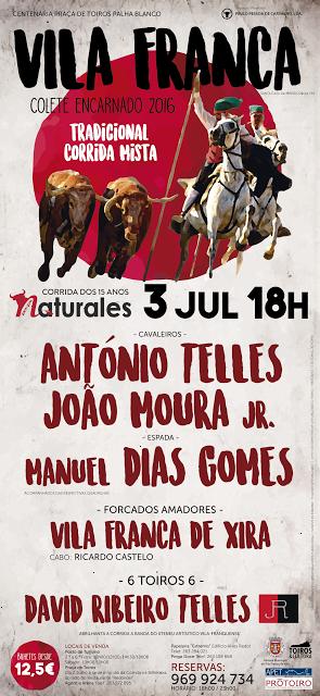 VILA FRANCA DE XIRA (PORTUGAL) 03-JULHO 2016. TRADICIONAL CORRIDA DE TOUROS MIXTA.