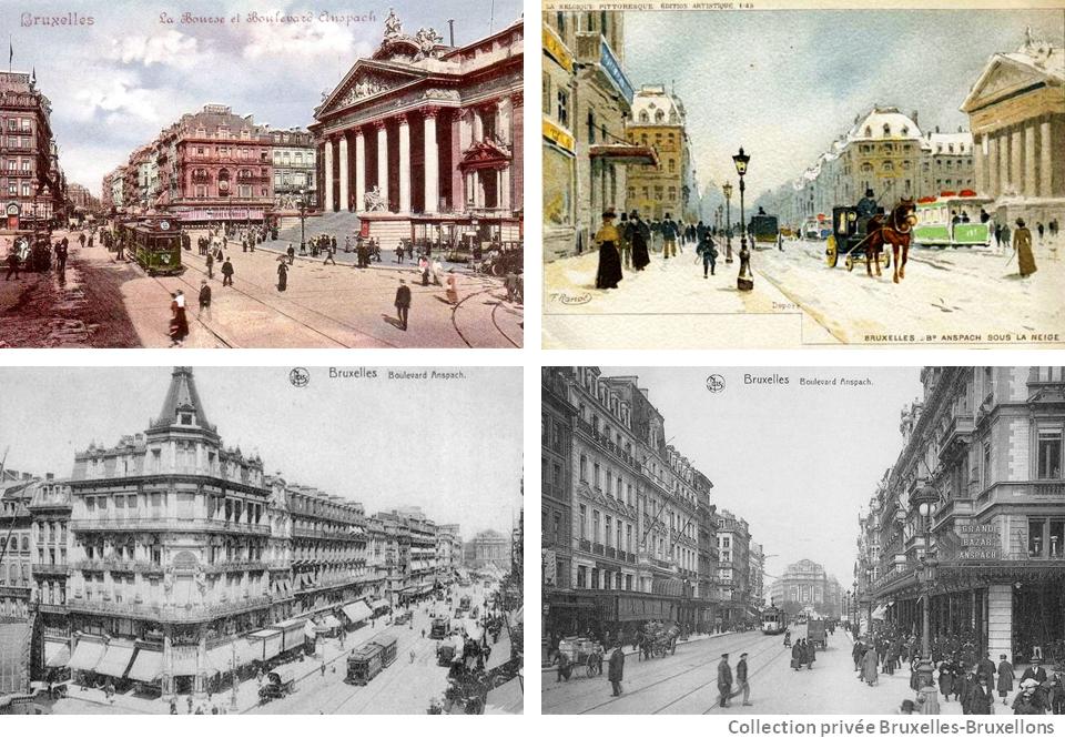 Place de la Bourse et boulevard Anspach du temps où Bruxelles brusselait