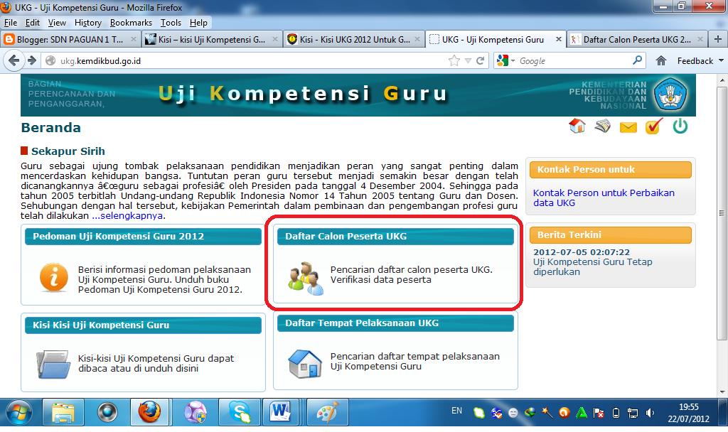 UKG 2012 disini Silahkan Anda klik menu tabel Daftar Calon Peserta UKG