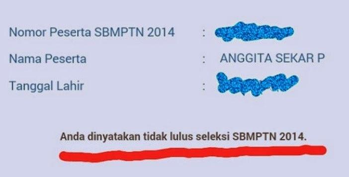 Daftar peserta yang tidak lulus SBMPTN 2014