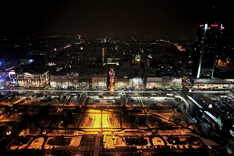 The view from the observation deck at Palace of Culture and Science, Warsaw Poland